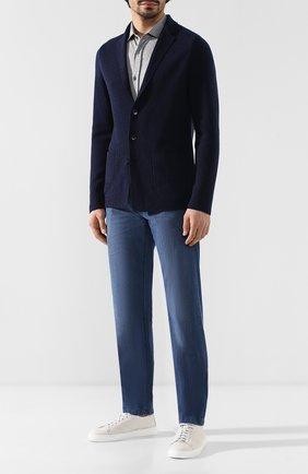 Мужская рубашка из смеси шелка и хлопка BRUNELLO CUCINELLI серого цвета, арт. MTS466699 | Фото 2