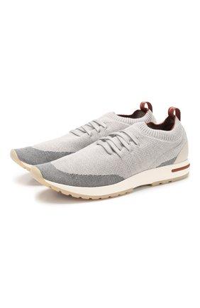 Мужские текстильные кроссовки 360 lp walk LORO PIANA светло-серого цвета, арт. FAI1540 | Фото 1