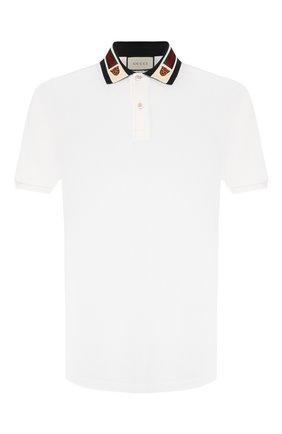 Мужское хлопковое поло GUCCI белого цвета, арт. 545714/XJAGU | Фото 1
