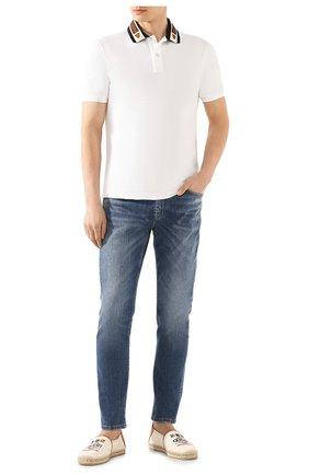 Мужское хлопковое поло GUCCI белого цвета, арт. 545714/XJAGU | Фото 2