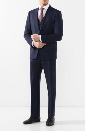 Мужской шерстяной костюм-тройка TOM FORD темно-синего цвета, арт. 522R02/31AA43 | Фото 1 (Рукава: Длинные; Big photo: Big photo; Материал внешний: Шерсть; Костюмы М: Однобортный, Костюм-тройка; Стили: Классический)