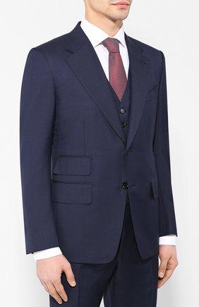 Мужской шерстяной костюм-тройка TOM FORD темно-синего цвета, арт. 522R02/31AA43 | Фото 2 (Рукава: Длинные; Big photo: Big photo; Материал внешний: Шерсть; Костюмы М: Однобортный, Костюм-тройка; Стили: Классический)