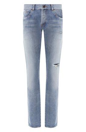 Мужские джинсы прямого кроя SAINT LAURENT синего цвета, арт. 544814/YD852 | Фото 1