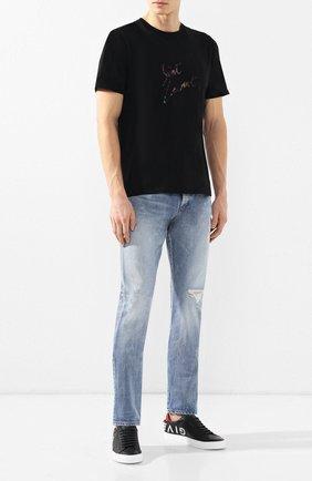 Мужские джинсы прямого кроя SAINT LAURENT синего цвета, арт. 544814/YD852 | Фото 2