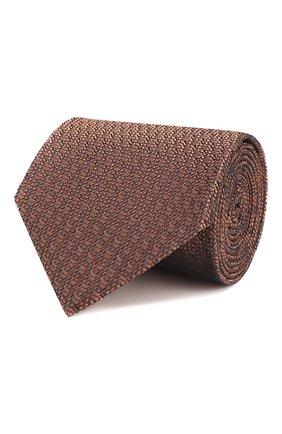Мужской шелковый галстук BRIONI светло-коричневого цвета, арт. 062H00/P8410 | Фото 1
