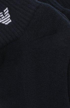 Мужские комплект из трех хлопковых носков EMPORIO ARMANI темно-синего цвета, арт. 302202/CC195   Фото 2