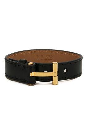 Мужской кожаный браслет TOM FORD черного цвета, арт. JM0002T-CALBR | Фото 1