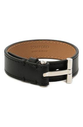 Мужской кожаный браслет TOM FORD черного цвета, арт. JM0002T-CALBR   Фото 1