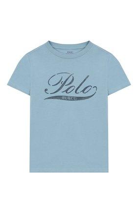 Детская хлопковая футболка POLO RALPH LAUREN голубого цвета, арт. 323712330 | Фото 1