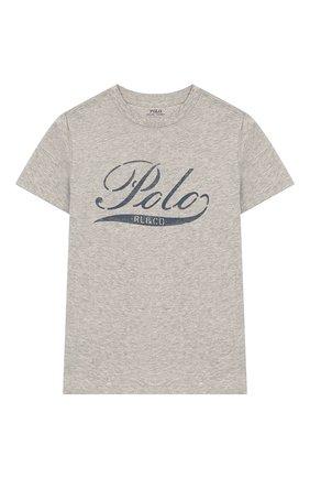 Детская хлопковая футболка POLO RALPH LAUREN серого цвета, арт. 323712330   Фото 1