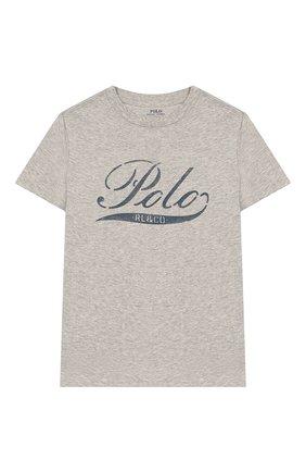 Детская хлопковая футболка POLO RALPH LAUREN серого цвета, арт. 322712330 | Фото 1