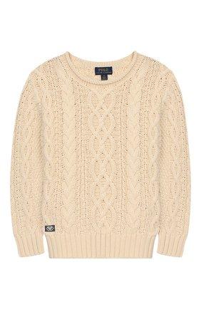 Детский хлопковый пуловер POLO RALPH LAUREN бежевого цвета, арт. 322712073 | Фото 1