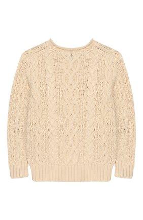 Детский хлопковый пуловер POLO RALPH LAUREN бежевого цвета, арт. 322712073 | Фото 2