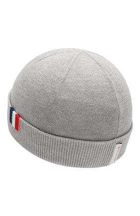 Хлопковая шапка Moncler Enfant серого цвета | Фото №2
