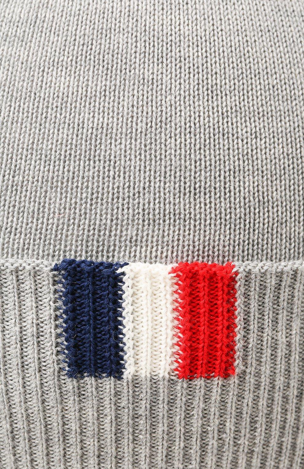 Хлопковая шапка Moncler Enfant серого цвета | Фото №3