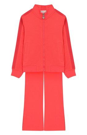 Детская комплект из хлопкового кардигана и брюк MONCLER ENFANT розового цвета, арт. E1-954-88580-05-809AC/4-6A | Фото 1