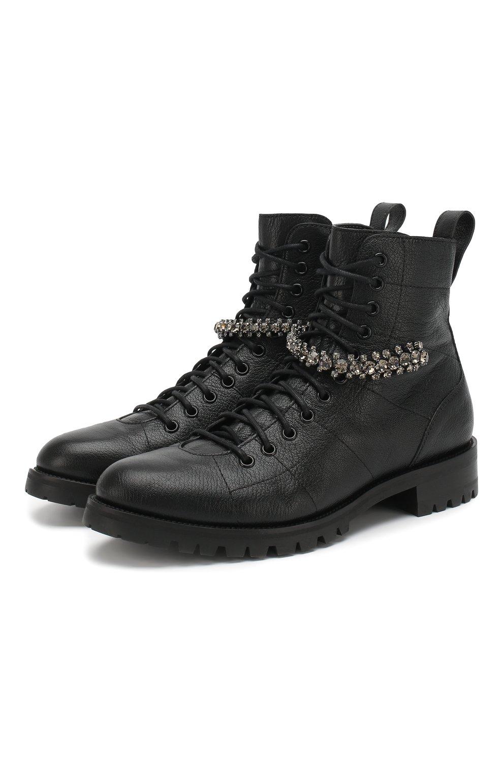 Женские кожаные ботинки cruz flat  JIMMY CHOO черного цвета, арт. CRUZ FLAT/GTC | Фото 1