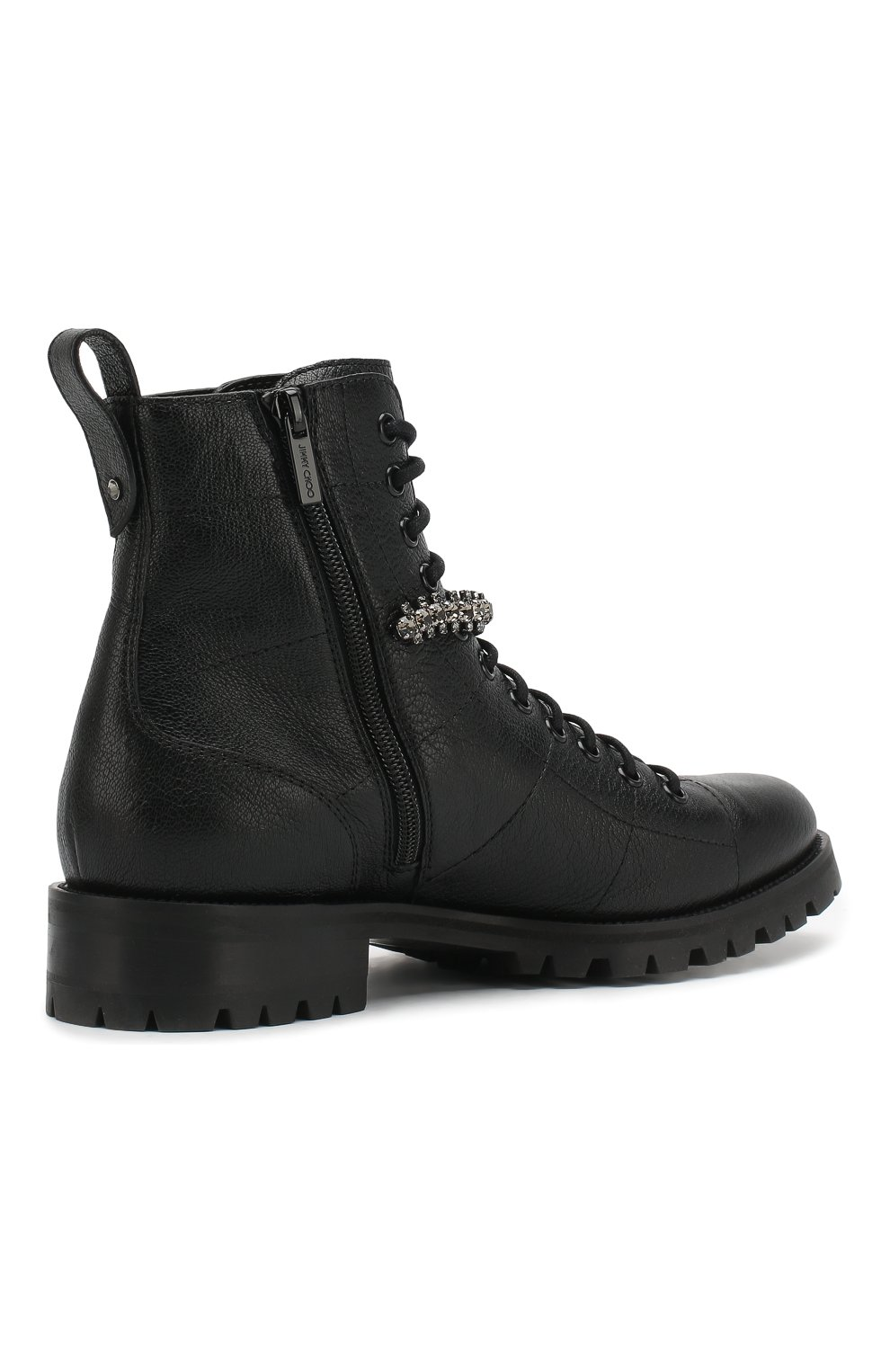 Женские кожаные ботинки cruz flat  JIMMY CHOO черного цвета, арт. CRUZ FLAT/GTC | Фото 4