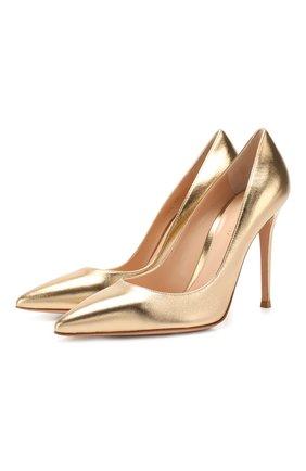 Женская кожаные туфли gianvito 105 GIANVITO ROSSI золотого цвета, арт. G28470.15RIC.NPSMEK0   Фото 1