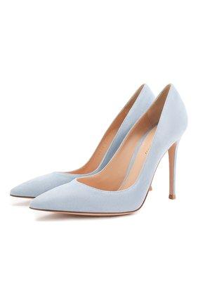 Женские замшевые туфли gianvito 105 GIANVITO ROSSI голубого цвета, арт. G28470.15RIC.CAMST0W | Фото 1