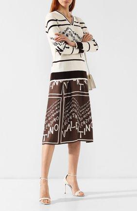 Лаковые босоножки Amber Saint Laurent белые | Фото №2