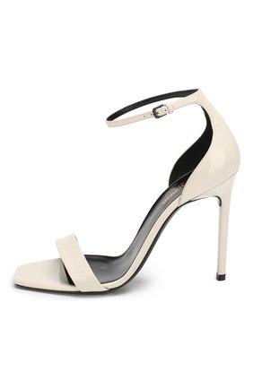 Лаковые босоножки Amber Saint Laurent белые | Фото №3