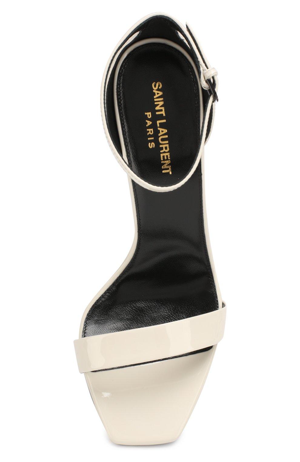 Лаковые босоножки Amber Saint Laurent белые | Фото №5