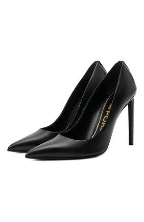 Женские кожаные туфли TOM FORD черного цвета, арт. W2325T-SS0 | Фото 1