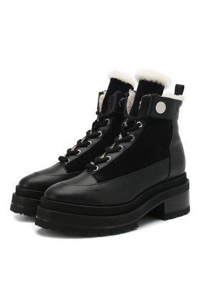 Женские кожаные ботинки penny с внутренней отделкой из овчины PIERRE HARDY черного цвета, арт. RE04F/CALF-SUEDE CALF | Фото 1
