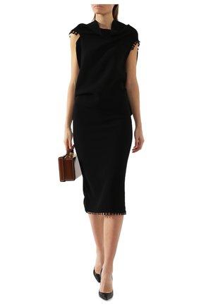 Женская шерстяная юбка-карандаш ROLAND MOURET черного цвета, арт. PS19/S4134/F0248   Фото 2
