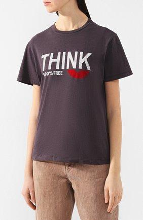 Хлопковая футболка Isabel Marant Etoile черная   Фото №3