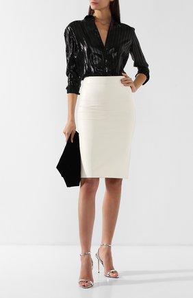 Женская кожаная юбка-карандаш TOM FORD белого цвета, арт. GCL764-LEX083 | Фото 2