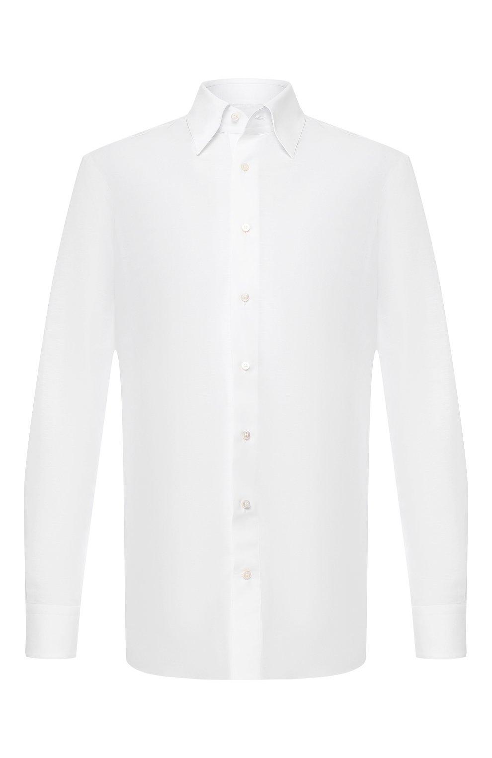 Мужская сорочка из смеси хлопка и льна ZILLI белого цвета, арт. MFR-01190-MERCU/RZ01   Фото 1