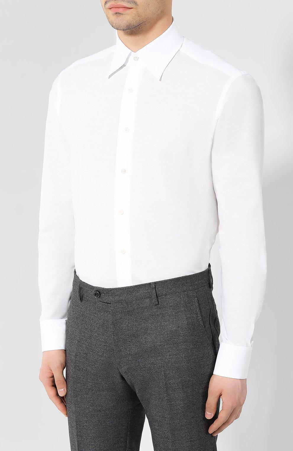 Мужская сорочка из смеси хлопка и льна ZILLI белого цвета, арт. MFR-01190-MERCU/RZ01   Фото 3