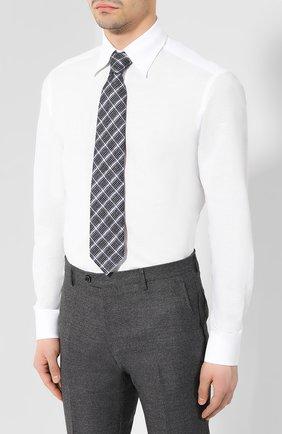 Мужская сорочка из смеси хлопка и льна ZILLI белого цвета, арт. MFR-01190-MERCU/RZ01   Фото 4