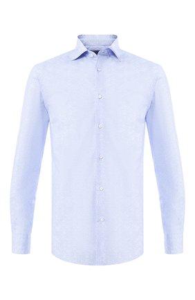 Мужская хлопковая сорочка с воротником кент RALPH LAUREN голубого цвета, арт. 791741069 | Фото 1