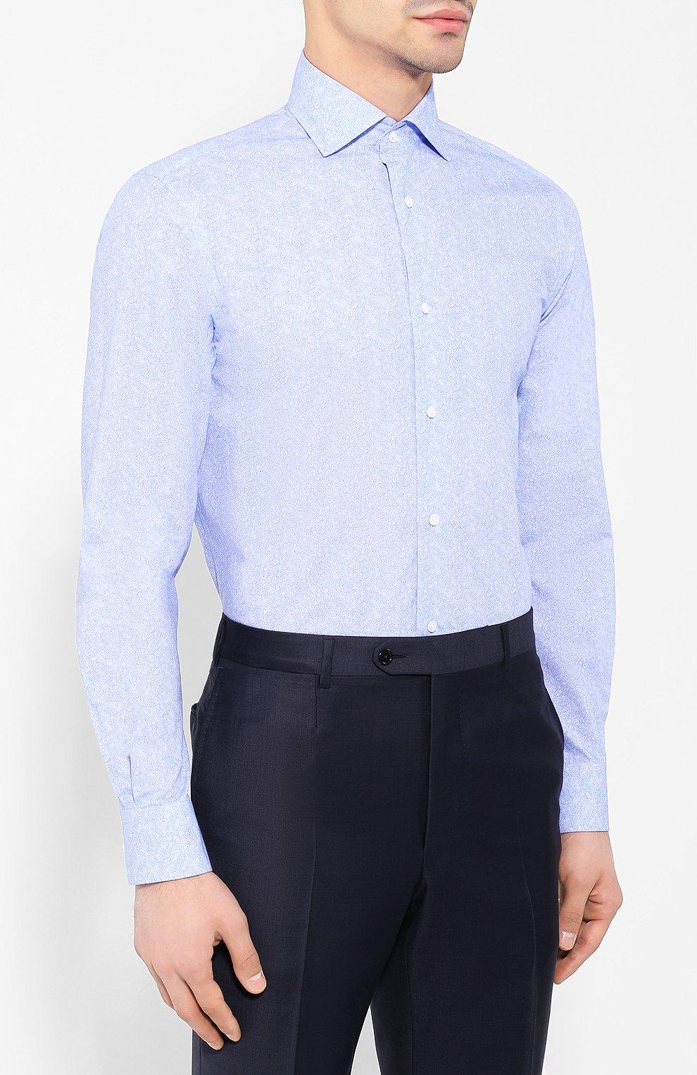Мужская хлопковая сорочка с воротником кент RALPH LAUREN голубого цвета, арт. 791741069 | Фото 3