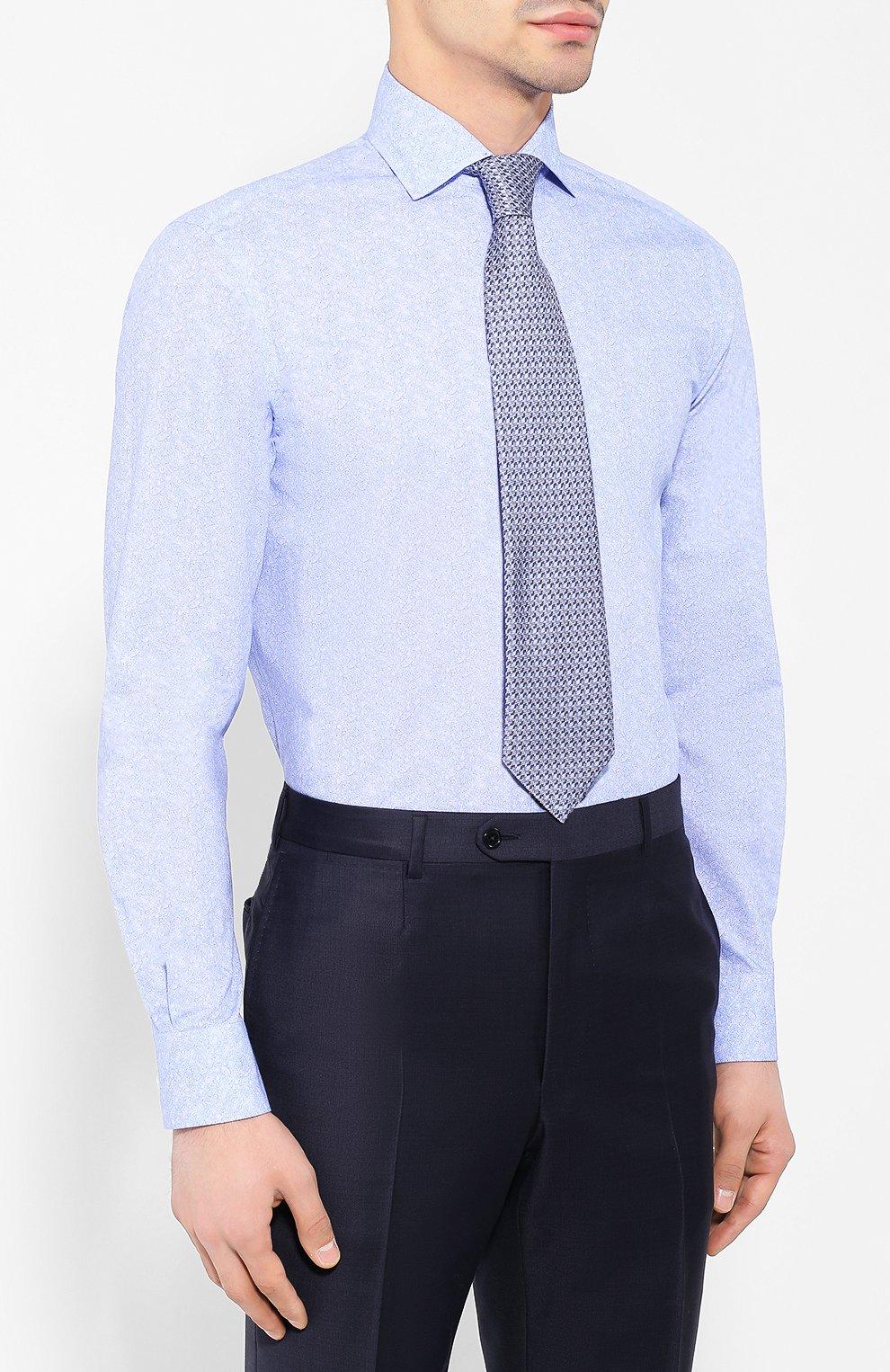 Мужская хлопковая сорочка с воротником кент RALPH LAUREN голубого цвета, арт. 791741069 | Фото 4