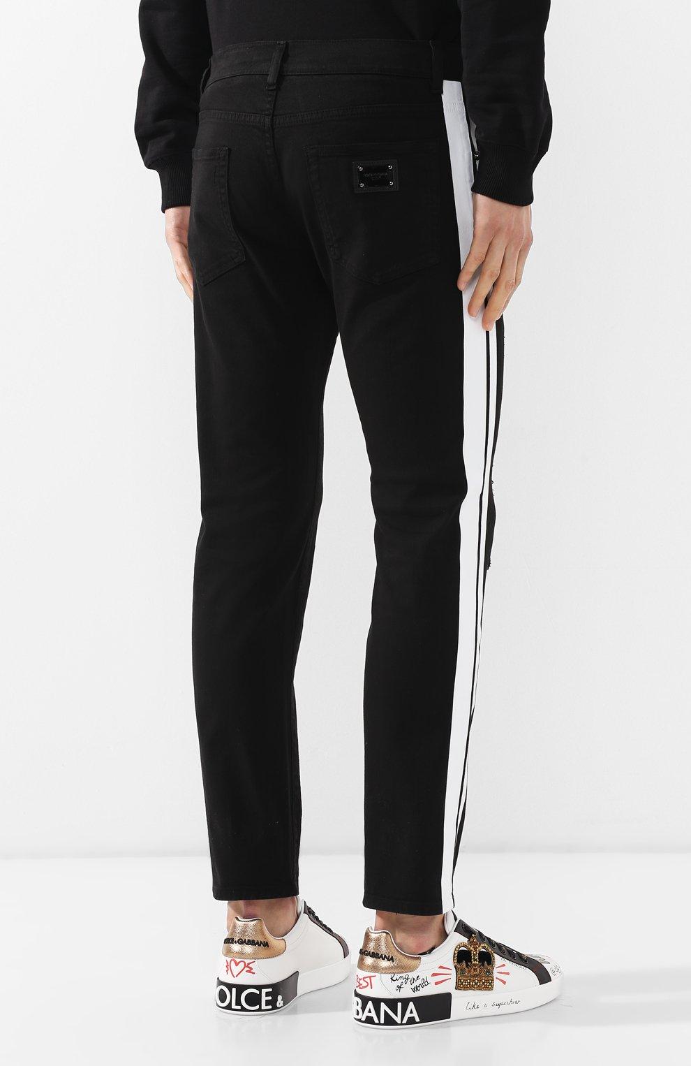 Джинсы прямого кроя Dolce & Gabbana черные | Фото №4