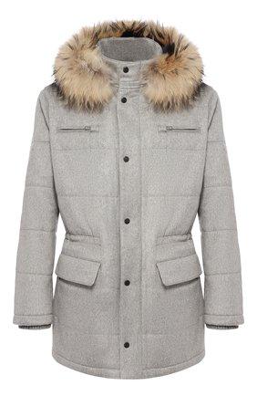 Кашемировая куртка с меховой отделкой капюшона | Фото №1