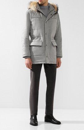 Мужская кашемировая куртка с меховой отделкой капюшона KITON светло-серого цвета, арт. UW0482AV03P10 | Фото 2