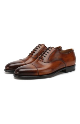 Мужские кожаные оксфорды KITON коричневого цвета, арт. USSDARIN00101 | Фото 1