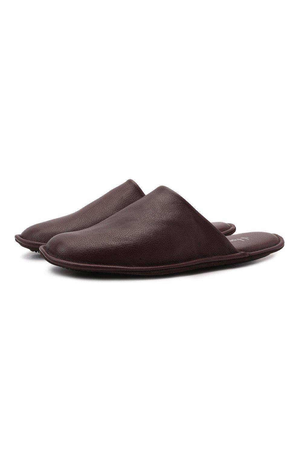 Мужского домашние кожаные туфли HOMERS AT HOME бордового цвета, арт. 12045/BUFALIN0   Фото 1