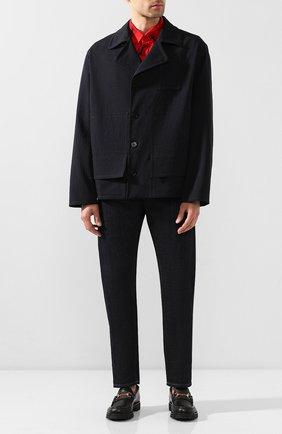 Мужские кожаные лоферы GUCCI черного цвета, арт. 496246/ARPA0 | Фото 2