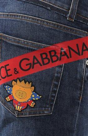 Джинсы прямого кроя Dolce & Gabbana синие | Фото №5