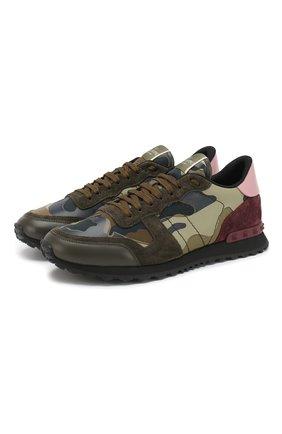 Мужские комбинированные кроссовки valentino garavani rockrunner camouflage VALENTINO хаки цвета, арт. RY2S0723/TCC   Фото 1