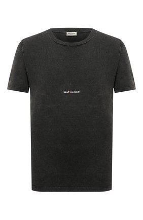 Мужская хлопковая футболка  SAINT LAURENT темно-серого цвета, арт. 498281/YB2L0 | Фото 1 (Длина (для топов): Стандартные; Рукава: Короткие; Материал внешний: Хлопок; Статус проверки: Проверена категория; Принт: С принтом)
