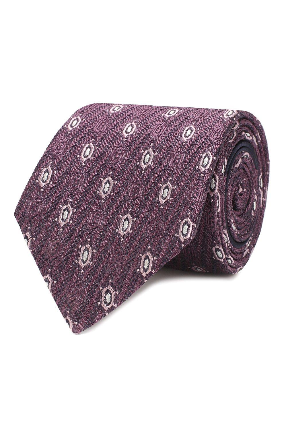 Мужской шелковый галстук ZEGNA COUTURE фиолетового цвета, арт. Z5B01/15C | Фото 1 (Принт: С принтом; Материал: Текстиль; Статус проверки: Проверено)