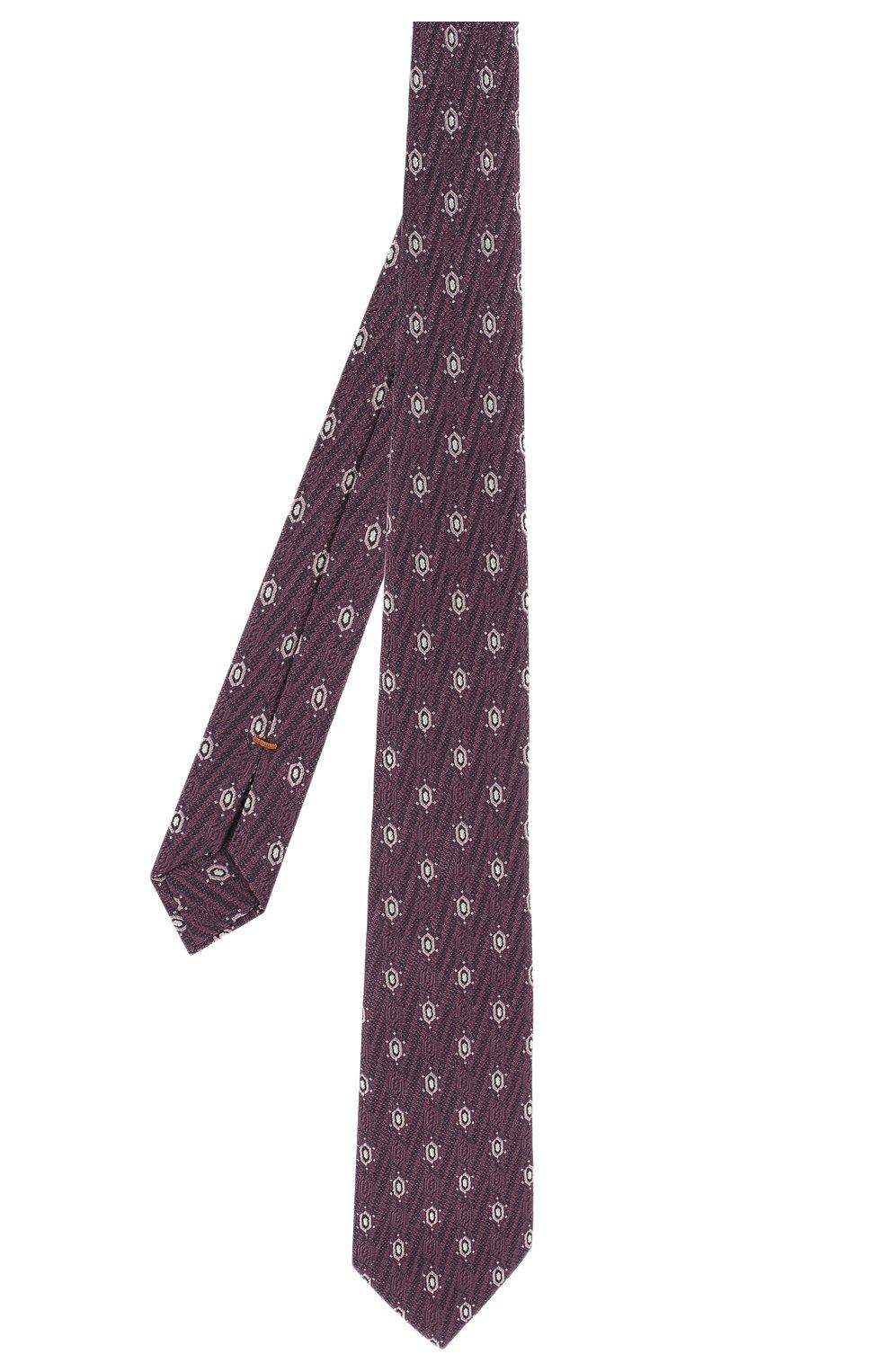 Мужской шелковый галстук ZEGNA COUTURE фиолетового цвета, арт. Z5B01/15C | Фото 2 (Принт: С принтом; Материал: Текстиль; Статус проверки: Проверено)