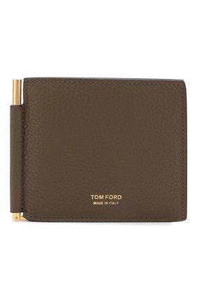 Мужской кожаный зажим для денег TOM FORD хаки цвета, арт. Y0231T-CS4 | Фото 1
